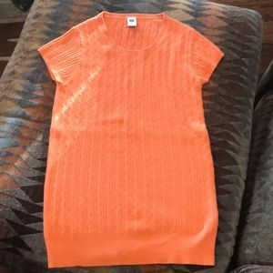 Small Gap orange short sleeve cable knit sweater